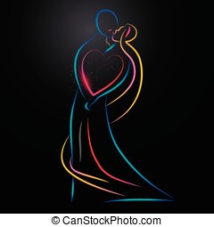 Kissing couple - Vecror illustration of a colorful kissing...