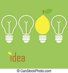 Idea lamp - Vecror illustration of a bulb in a lemon shape
