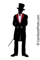 Male Magician Illustration Silhouette - Male Magician...