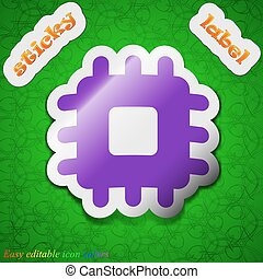 Central Processing Unit icon sign. Symbol chic colored sticky label on green background. Vector