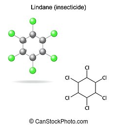 Lindane - model and formula of insecticide, 2d 3d...