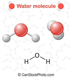 Water molecule: icon and chemical formula, H2O, 2d & 3d...