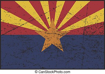 Arizona Flag Grunged - A grunged Arizona flag design