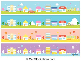 Stores and houses, four seasons - stores and houses on a...