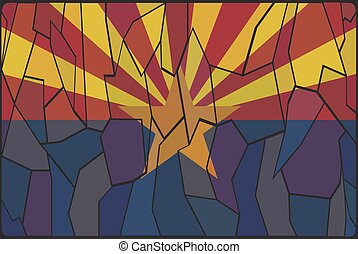 Arizona Stained Glass Window - An Arizona flag design on a...