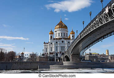 Cathedral of Christ the Saviour and Patriarshy Bridge in...