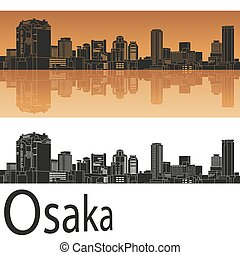 Osaka skyline in orange background in editable vector file