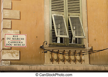 Rustic Shutters and Street Sign