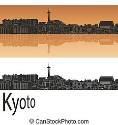 Kyoto skyline in orange background in editable vector file