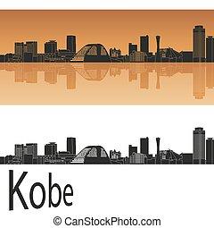 Kobe skyline in orange background in editable vector file