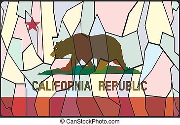 California Stained Glass Window - A California flag stained...