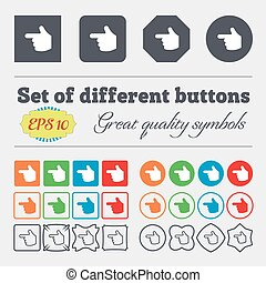 pointing hand icon sign Big set of colorful, diverse,...