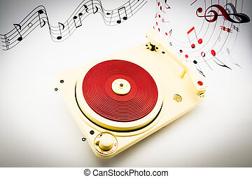 composition with vintage red record player and musical notes...