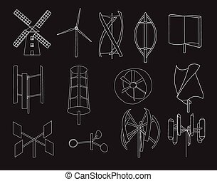 13 type of wind turbine black bg - 13 type of wind turbine...
