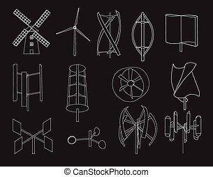 13 type of wind turbine black bg - 13 type of wind turbine...