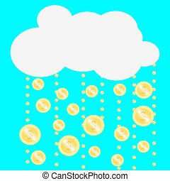 Gold coins falling from the clouds