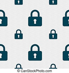 Pad Lock icon sign. Seamless pattern with geometric texture....