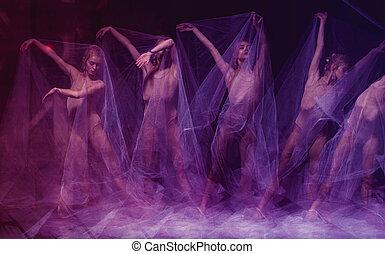 sensual, y, emocional, baile, de, hermoso, bailarina, por,...