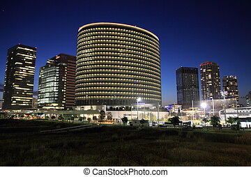 high rise buildings in Yokohama, Japan night scene