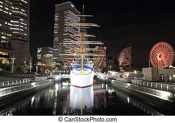 Nippon maru, sailing ship in yokohama, Japan night scene