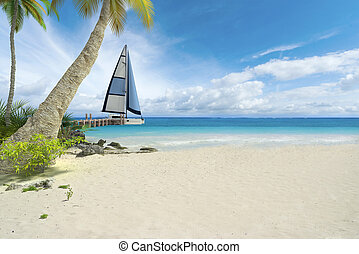 Tropical beach and sailboat - Tropical beach, pier and...
