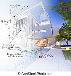 House finish indications - 3D rendering of a luxurious villa...