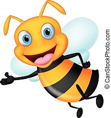 Cute flying bee presenting - Vector Illustration of Cute...