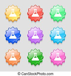 Conical Flask icon sign symbol on nine wavy colourful...