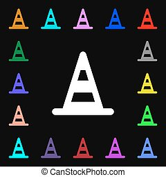road cone icon sign. Lots of colorful symbols for your design. Vector