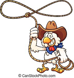 Cowboy chicken with lasso. Vector clip art illustration with...