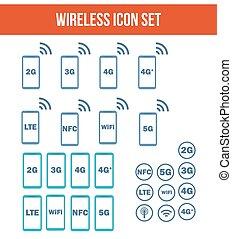 Mobile wireless telecommunications technology symbol.