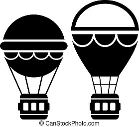 Hot air balloon icons set
