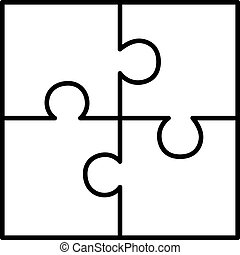 Four piece puzzle diagram on white background