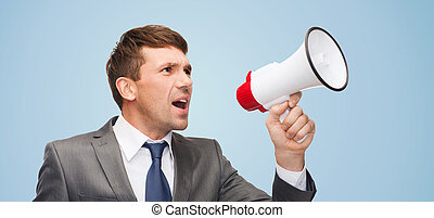buisnessman with bullhorn or megaphone - business,...