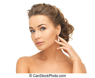 woman with diamond earrings - beautiful woman in white dress...