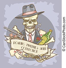 Roaring Twenties Skull label - Roaring Twenties label with...