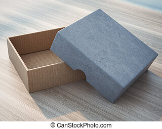 Open box on wooden table