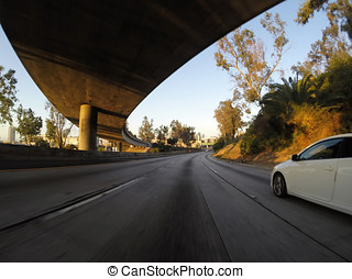 Pasadena Freeway Morning - Light weekend morning traffic on...