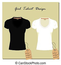 white and black design girls T-shirts, with the label,...
