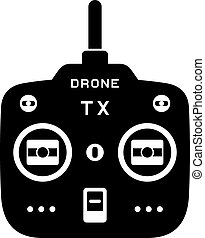 rc drone quadcopter tx transmitter black icon - illustration...
