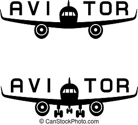 aircraft aviator inscription black icon - illustration for...
