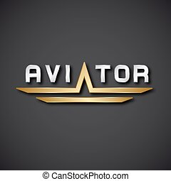 EPS10 aircraft aviator inscription icon - illustration for...