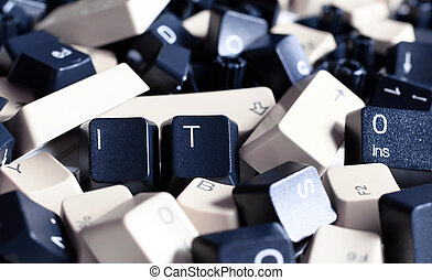 IT HELP, Pile of Black and White Computer Keyboard Keys - IT...