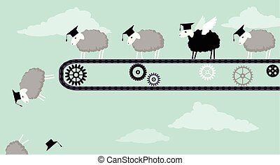 Black sheep is ready to fly - Sheep in academic graduation...