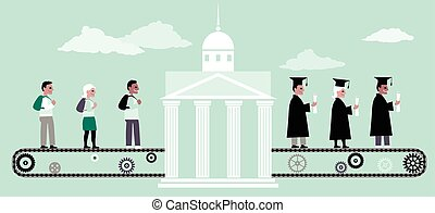 Higher education machine - Young people riding a conveyor...