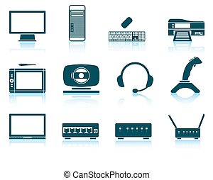 Set of hardware icons EPS 10 vector illustration without...