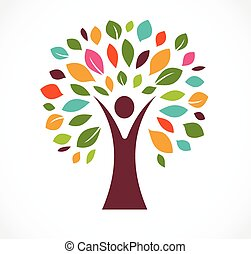 green tre - logo and icon - Colorful leaves tree and man -...