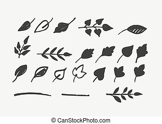 Hand drawn leaves, icons and elements - Set of hand drawn...