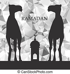 Vector Ramadan greeting with camel