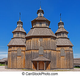 Old wooden church - Old wooden Orthodox church in Eastern...